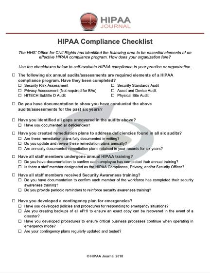 HIPAA Journal | HIPAA Compliance Checklist